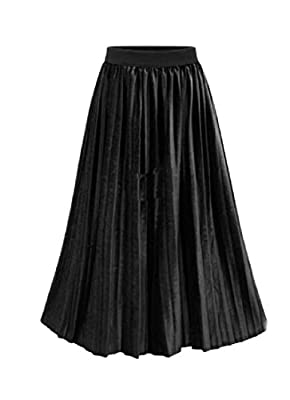 Winwinus Womens Fall Winter Pure Colour Midi Plus-size Skater Skirt