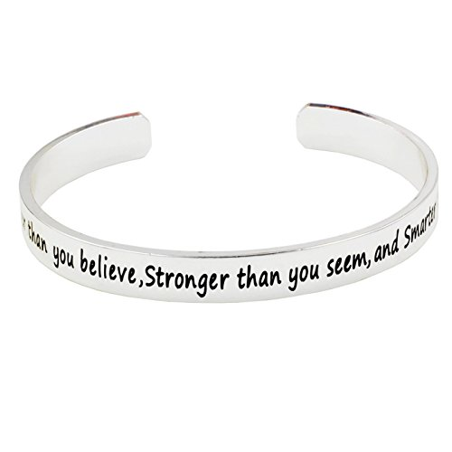 L.Beautiful Inspirational Jewelry Cuff Bangle Bracelets Gift for Women Girls - You Are Braver Stronger Smarter Than You Think with Gift Box (Sliver)