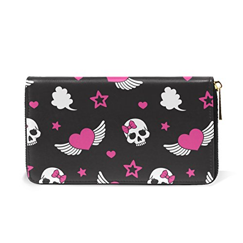 Wallet Handbags Zip TIZORAX Sugar Skull Clutch Pink Organizer Love Hearts And Womens Purses Around ggq1Ov