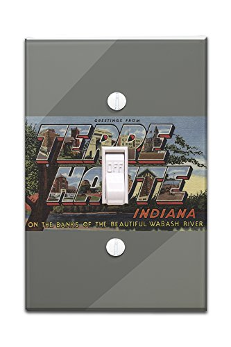 Terre Haute  Indiana   Wabash River   Large Letter Scenes  Light Switchplate Cover