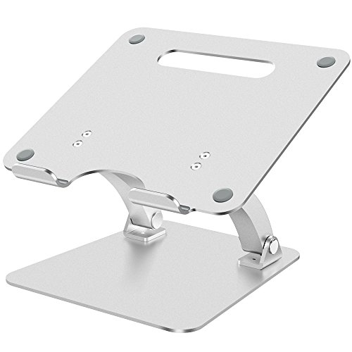 Nulaxy Adjustable Aluminum Laptop Stand for Macbook Pro / Air, Apple Laptop Stand, 7-15'' Notebook and Tablet, Desk Notebook Support with Anti-Slip Silicone Pad, Silver by Nulaxy