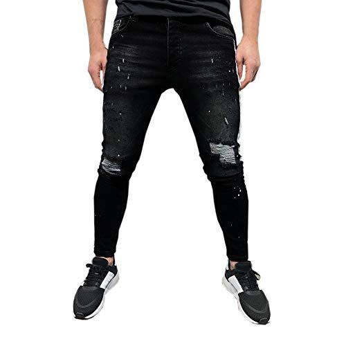 (Men's Ripped Slim Fit Straight Zipper Denim Pants Vintage Style Motorcycle with Broken Holes Black)