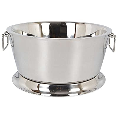 Double Walled With Raised Base Stainless Steel 17-Inch Beverage Tub, 21 Quart Capacity, Great For Parties And Picnics