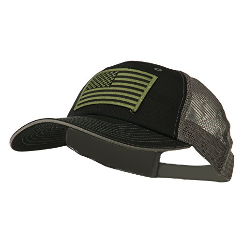 Subdued American Flag Patched Big Size Washed Mesh Cap - Black Grey OSFM