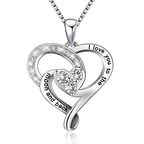 BLOVIN Sterling Silver I Love You to The Moon and Back Love Heart Pendant Necklace,Box Chain 18' Mother's Birthday Gifts