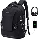 Tzowla Travel Laptop Backpack, Waterproof Business Work Backpack with USB Charging Port & Headphone Port for Men Women Durable Netbook Computer Backpack Bag Fits 17-Inch Laptop Notebook, Black