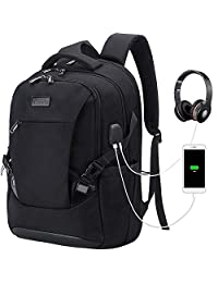 Tzowla Travel Laptop Backpack, Waterproof Business Work Backpack with USB Charging Port & Headphone Port for Men Women Durable Netbook Computer Backpack Bag Fits 17-Inch Laptop Notebook (Black)