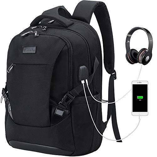 Tzowla Travel Laptop Backpack, Waterproof Business Work Backpack with USB Charging Port & Headphone Port for Men Women Durable Netbook Computer Backpack Bag Fits 17-Inch Laptop Notebook, Black by Tzowla