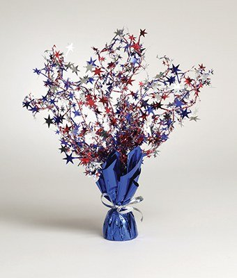 Pack of 6 Red, Silver and Blue Foil Spray Stars Centerpieces 15