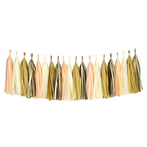 Party Tissue Paper Garland (Tissue Paper Tassel DIY Party Garland (20 Tassels Per Package) - 14 Inch Long Tassels (Peach-Ivory-Tan-Gold))