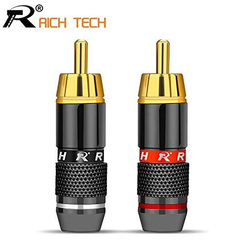 Calvas 2Pcs/1Pair Gold Plated RCA Connector RCA male plug adapter Video/Audio Wire Connector Support 6mm Cable black&red super fast
