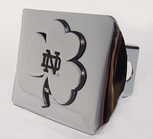 Boston Standard Sham - Notre Dame Chrome Plated Metal Hitch Cover with Shamrock