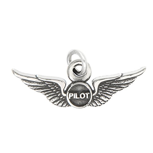 (Lgu Sterling Silver Oxidized Airline Airplane Pilot Wings Charm -with Options (Charm))