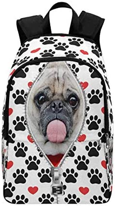 Custom Personalized Photo Pet Face Backpack Bookbags Casual Daypack Dog Paw Red Heart / Custom Personalized Photo Pet Face Backpack Bookbags Casual Daypack Dog Paw Red Heart