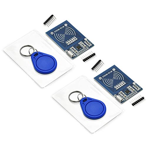 Gikfun 2 Sets RFID Kit RC522 RF IC Card Sensor Module + S50 Blank Card + Key Ring DIY Kit for Arduino (Pack of 2pcs) EK1112x2