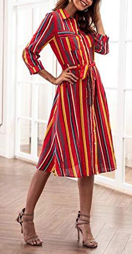 Femmes Cromoncent Rayé Lâche Mode Bouton Imprimé Vers Le Bas Robe Rouge Swing Fête