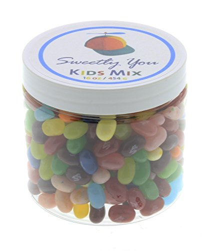 Jelly Belly 1 LB Kids Mix Flavored Assorted Beans. (One Pound, 1 Pound) Bulk Jelly Beans in a resealable and reusable jar. (Jelly Beans For Kids)