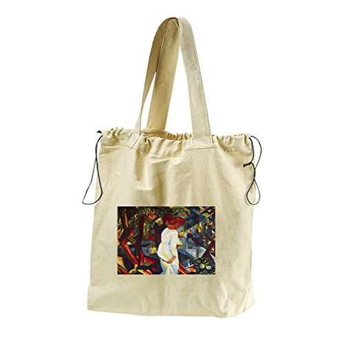 Couple In The Forest (Macke) Canvas Drawstring Beach Tote Bag by Style in Print