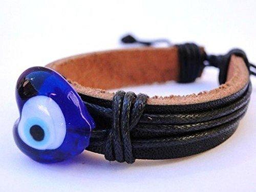 Bracelet cuir ajustable chance Protection mauvais oeil Turc cristal forme coeur