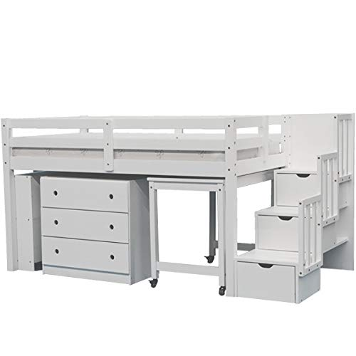 SCANICA Junior Stairway Mid Loft Bed with Desk, Chest, and Bookcase White
