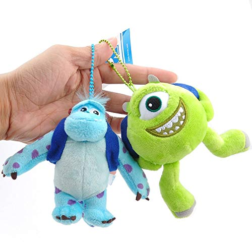 PAPIN Set 2 Mike Wazowski Sulley Plush Toys Keychain 4.7 inch Hot Toy Monster Plushes Monsters Inc Stuffed Doll Christmas Collectible Halloween Big Collectable Gift Collectibles Gifts for Kids Baby ()