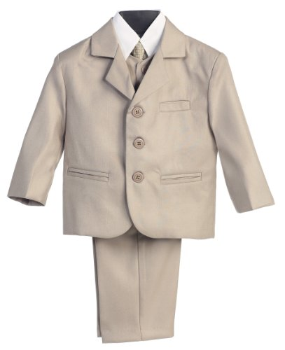 5 Piece Khaki Suit with Shirt, Vest, and Tie - Size 4