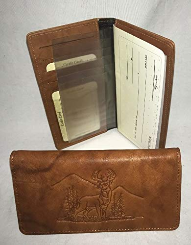 Rico Deer Whitetail Buck Embossed Brown/Tan Leather Checkbook Cover with Gift Tin