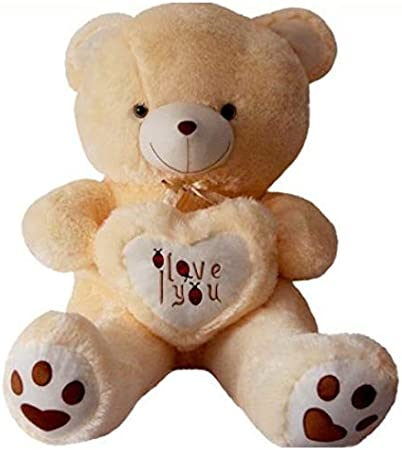 Frantic Premium Quality Soft Huggable I Love You Teddy Bear Plush Stuffed Toy (Butter,32 cm)