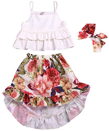 Toddler Baby Girls Floral Boho Skirt Sets Summer Outfit Ruffle Tank Top Irregular Maxi Dress Beach Dresses Clothes (2T - 3T, White Top + Flower Pattern Skirt)