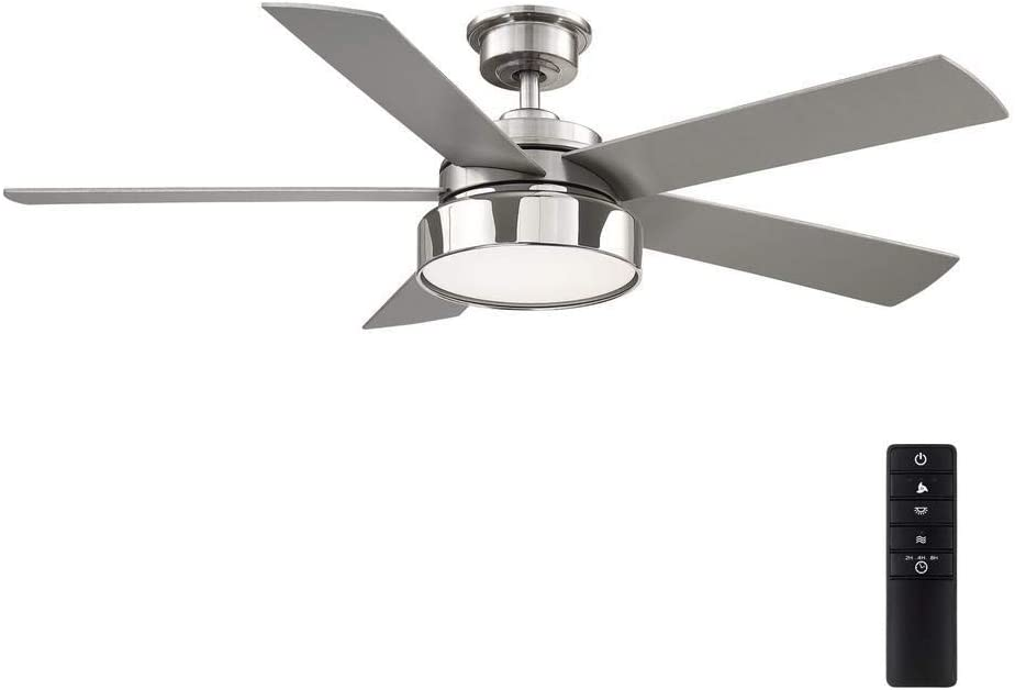 Cherwellu00a052 in. LED Brushed Nickel Ceiling Fan with Light