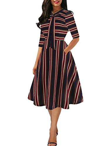 oxiuly Women's Vintage Bow Tie V-Neck Pockets Casual Work Party Cocktail Swing A-line Dresses OX278 (S, Blue Stripe)