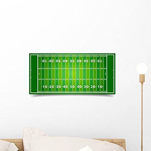 Wallmonkeys American Football Field Wall Decal Peel and Stick Graphic (18 in W x 13 in H) ()