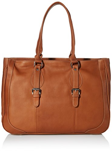 (Piel Leather Ladies Buckle Business Tote, Saddle, One)
