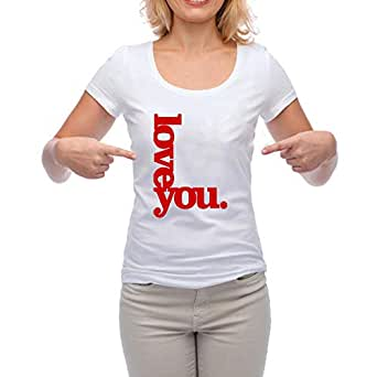 Short Sleeve Printed T-Shirts for Women, White, Cotton