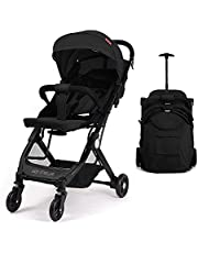 Foldable Compact Airplane Travel Strollers - Convenient Strollers with Baby Sleeping Chairs, Shock Absorbing Frame, Oversized Canopy, Reversible Seat, One Hand Fold, Extra Storage (Black)