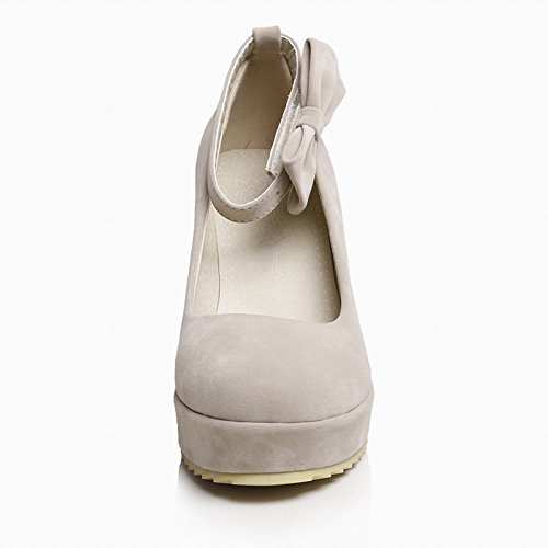 Latasa Joliment Faux Daim Arc Cheville-sangle Plate-forme Pompes Wedge Chaussures Beige