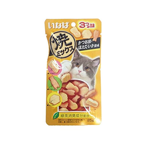 INABA Tuna and chicken tenderloin with dry Fish, Scallops, Squid ( 25g. X 3 pack)