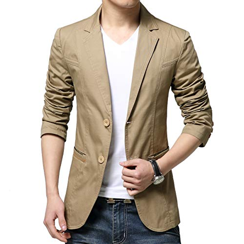 KIMILILY Sports Jacket for Men Cotton Blazer Jackets Two Button Casual Suit Coats Khaki