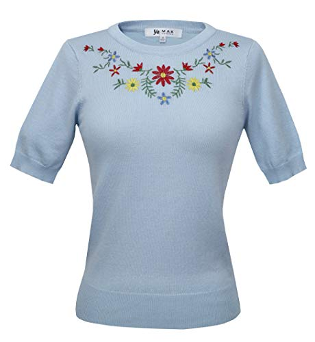 Daisy Flower Embroidered Cute Pullover Sweater Vintage Inspired MK3664EMBO-LBL-S Light Blue