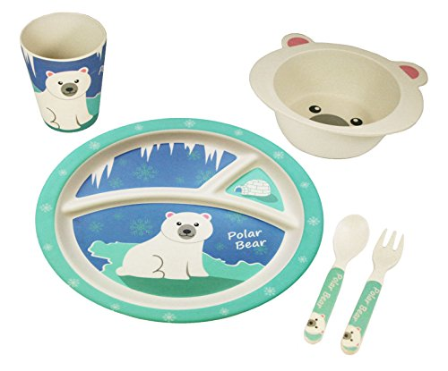 EcoBamboo Ware Kids Bamboo Dinnerware Set with Tumbler, Pettie The Polar (Bamboo Bear)