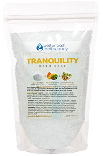 Tranquility Bath Salt - Epsom Salt With Lemongrass & Chamomile Essential Oil & Vitamin C - Enjoy The Calming Effects Of This All Natural Bath Soak - No Perfumes No Dyes