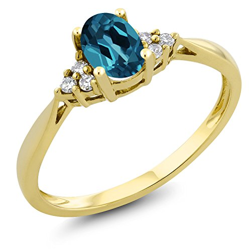 Gem Stone King 0.50 Ct Oval London Blue Topaz and Diamond 14K Yellow Gold Ring (Size 9) ()