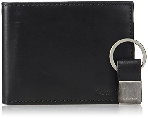 Calvin Klein Men's Leather Bookfold,Black,One Size