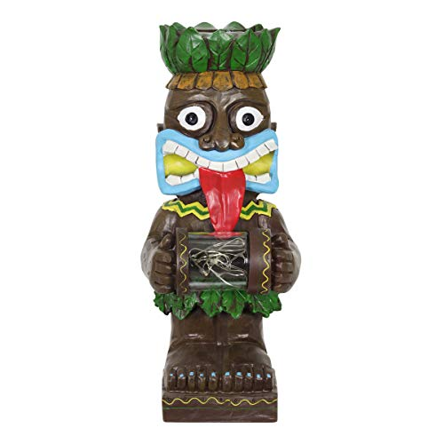 Exhart Solar Wide-Eyed Totem Garden Statue with 6 LED Firefly Lights Glass Jar - Totem Resin Statue Holding a Firefly String Lights Glass Jar - Solar-Powered Totem Garden Decor, 4 x 11