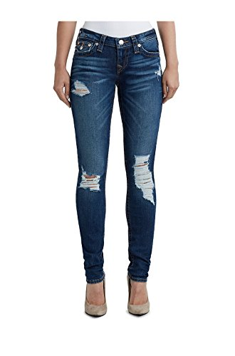 True Religion Women's Super Stretch Skinny Fit Distressed Jeans w/Flaps & Rips in Meteor Shower ()