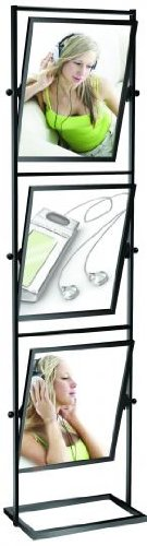 """Deluxe 3 Tier Tilter Poster Sign Stand Holder For 22"""" x 28"""" Inserts, Matte Black Finish"""