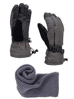 FURST Women's Storm Touchscreen Winter Ski Gloves + Scarf Set, Pocket, Thinsulate, Waterproof