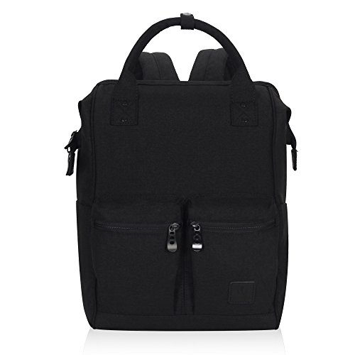 (Veegul Stylish Doctor Style Multipurpose Travel Backpack Everyday Backpack for Men Women Dual Pockets Black Polyester)