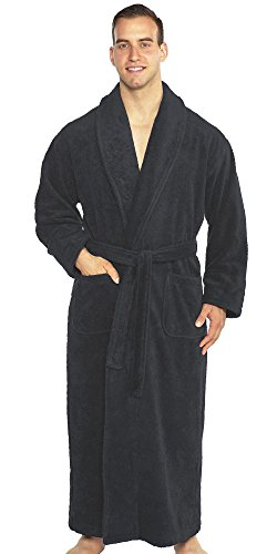 (TurkishTowels Mens and Womens Original Terry Shawl Turkish Bathrobe-XL, Charcoal)