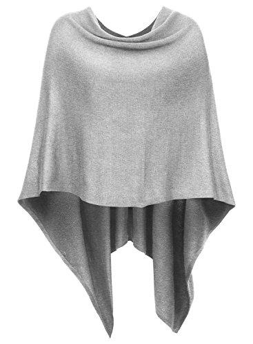 DJT Womens Solid Knit Short Asymmetric Wrap Poncho Topper Light Grey